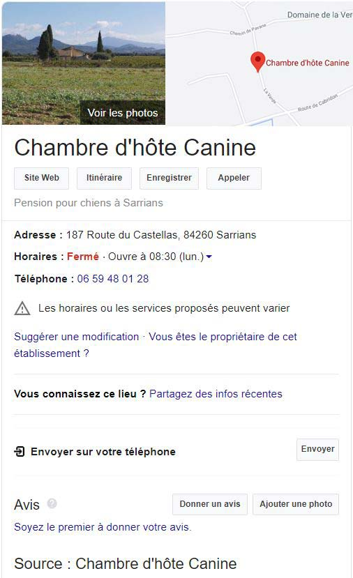 Google Chambre d'hote canine